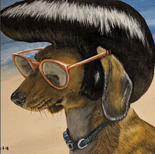 Elvis Dog with Cool Glasses - Feathers and Fur Portraits (Bryan Man)