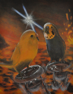 Pootis and Spencer, Jedi Nemeses - Acrylic portrait from Feathers and Fur Portraits (Bryan Man)