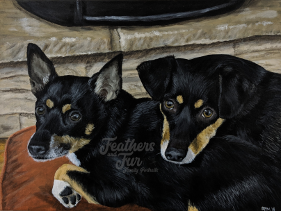 Lucy and Chance by the Fire - Acrylic portrait by Feathers and Fur Portraits (Bryan Man)