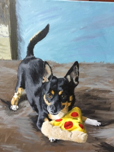 """Chance and Pizza - 16""""x20"""" Acrylic painting from Feathers and Fur Portraits (Bryan Man)"""