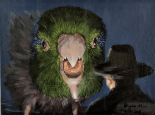 "Pacific Parrotlet 42, Drawn to the Scale of his Personality - 8.5""x11"" Acrylic painting from Feathers and Fur Portraits (Bryan Man)"