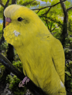 "Pootis in Nature - 11""x14"" Acrylic painting from Feathers and Fur Portraits (Bryan Man)"
