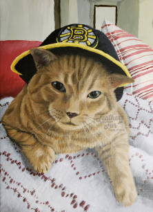"""Rocky the Cat with a Boston Bruins Hat - 16""""x20"""" Acrylic painting from Feathers and Fur Portraits (Bryan Man)"""