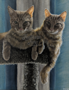 """Delightful Sunbeams - 11""""x14"""" Acrylic painting from Feathers and Fur Portraits (Bryan Man)"""