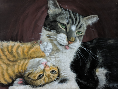 """Fun Friends Basil & Saffron - 11""""x14"""" Acrylic painting from Feathers and Fur Portraits (Bryan Man)"""