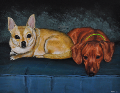 """Chai and Gus - 11"""" x 14"""" Acrylic painting from Feathers and Fur Portraits by Bryan Man"""