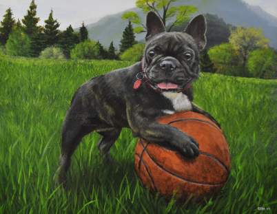"""The Endless Fun of the French Bulldog! - 16"""" x 20"""" Acrylic portrait from Feathers and Fur Portraits by Bryan Man"""